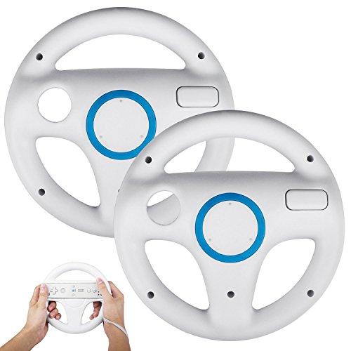 Stoga SVTM01 Generic Wii Controller Weiß Steuerung Mario Kart Racing Wheel Game-Controller für Nintendo Wii Remote Game-White (2 PCS)