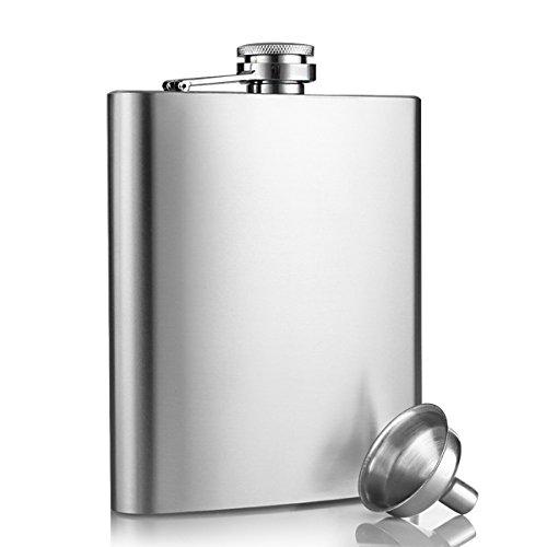 Edelstahl Flachmann, innislink Design Taschenflachmann Taschenflasche Flachmann 8 oz. ( 227 ml ) Mini-Trichter Stylische-Trinkflasche , Silber (Trichter 8 Oz)
