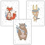 Frechdax® 3er Set Kinderzimmer Poster Baby Kinderposter Deko Junge & Mädchen (3er Set Waldtiere, Blau,Boho)