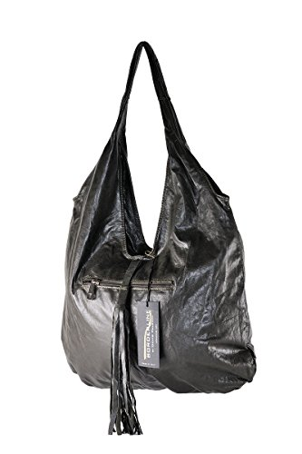 BORDERLINE - 100% Made in Italy - Borsa Sacca da Donna in Vera Pelle - SERENA (Fango)