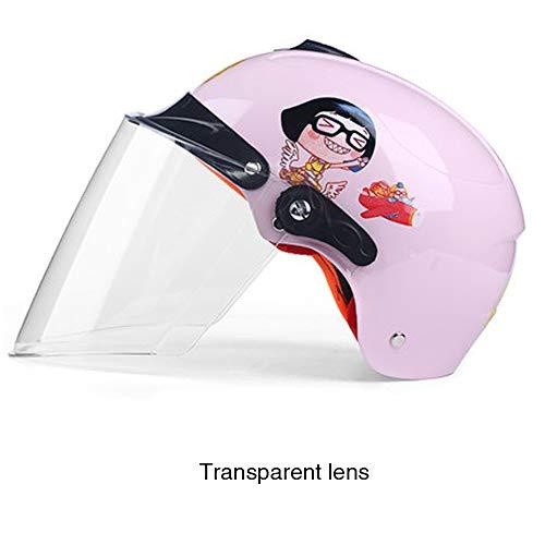 Kinderhelm Sommer elektrische Fahrradhalbhelm männliche und weibliche Universal Sonnenschutz Sonnenschutzhelm-Pink-OneSize (Gummi-gurtband-polsterung)