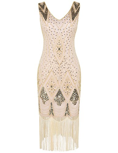 PrettyGuide Damen 1920er Gatsby Art Deco Pailletten Cocktail Charleston Kleid M Gold beige