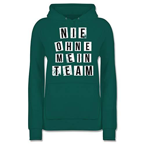Statement Shirts - Nie ohne Mein Team Grunge V6 - XS - Türkis - JH001F - Damen Hoodie