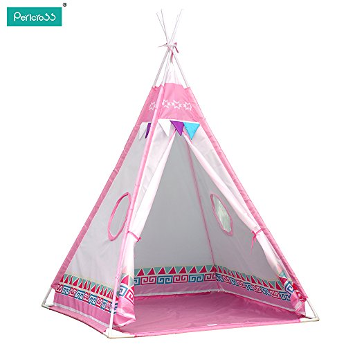 pericross-kids-teepee-play-tents-children-wigwam-tent-pink