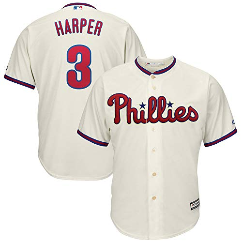 Alte Baseball-jersey (YQSB Jersey Baseball Major League Baseball # 3 Harper Philadelphia Phillies Baseballuniform,Beige,Men-M)