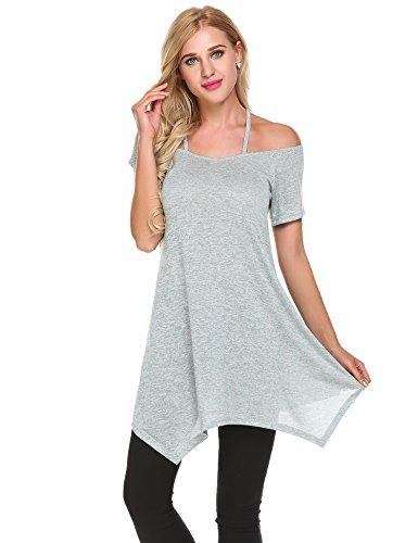 Parabler Damen Strappy Schulterfrei Kurzarm Tops Strech Shirt Casual Top Bluse T-Shirt Asymmetrisch A-Linie Hem Tunika Oberteil (Hellgrün, EU 40/L) - Asymmetrische Top