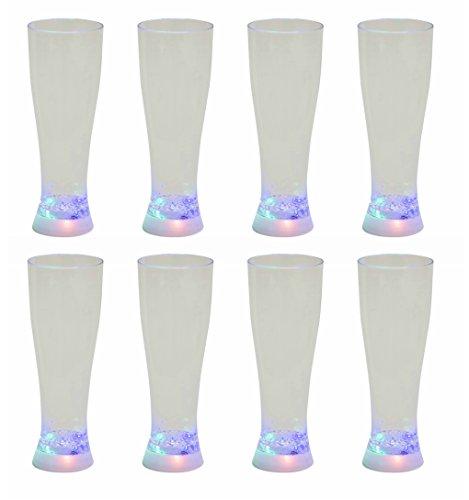 addliquid stroboskopischer Bier Glas von 8Farbwechsel LED Blinklicht Up Full Größe Pint Neuheit Trinken Kunststoff Cup 3verschiedene Lichteffekte ideal für Party BBQ Getränke Weihnachts Geschenk Acht Pack