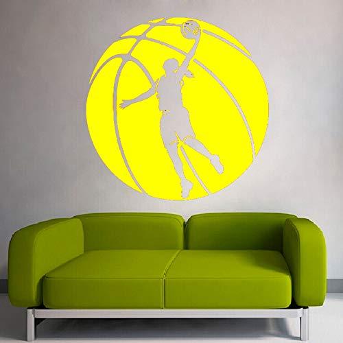 Basketball Riesige Muster Mit Basketball Spieler Silhouette Kunst Wandaufkleber Home Sport Serie Decor Special Wall Murals gelb 60x60cm -