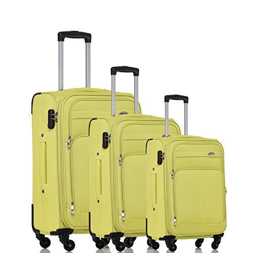BEIBYE Kofferset Trolley Gepäckset Stoff Dehnungsfuge Koffer Reisekoffer (Green)