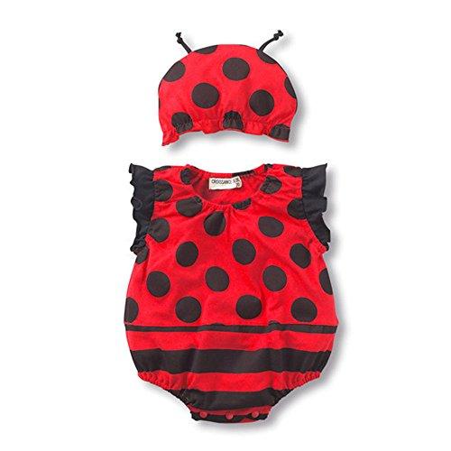 Baby Strampler Baumwolle Overalls [ 95 Büste ] für Neugeborene Kleinkinder Jungen Mädchen Sommer Baby Marienkäfer Babykleidung (Kleid + Hut)