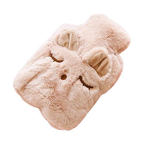 Lumanuby 1x Rosa Schlafen Katze Wärmflasche für Eltern Kinder PP Wärmekissen mit Plüsch-Bezug für Wärmespender an kalten Tagen Lindert Bauchschmerzen, 0.75 Liter
