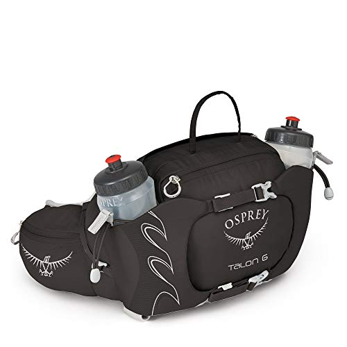 Osprey Talon 6 Unisex Hiking Lumbar Hydration Pack with 2x 570ml BPA Free Hydraulics™ Bottles - Black (O/S)