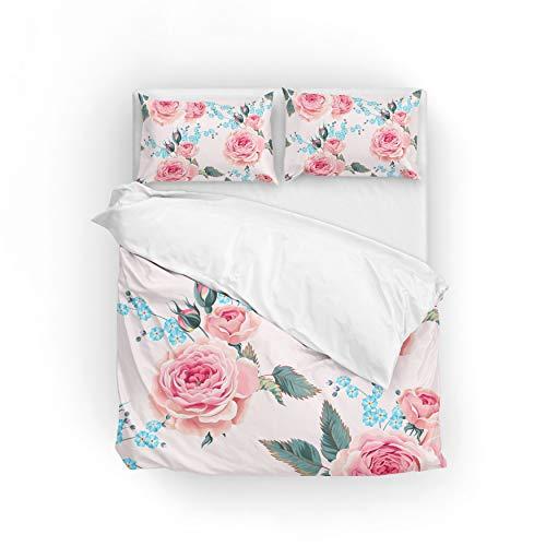 Jeansame Bettwäsche-Set, Bettbezug und Kissenbezug, Vintage-Rose, Blumen, Landgarten für Kinder, Jungen, Mädchen, Damen, Herren, Multi, Twin - Männer Bettbezug Twin
