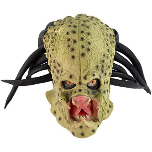 Mann Kostüm Green - QWEASZER Alien Mask Predator Vollgesichtsmaske Latex Helm, Film Cosplay Kostüm Zubehör, Halloween Maske Helm für Erwachsene Männer Kostüm,Green-OneSize