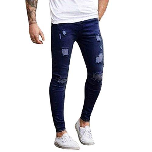pantalones rotos largos vaqueros Sannysis hombres vaqueros pantalones hippie harem pantalones de deportivos con bolsillos slim fit skinny jeans pantalón tapered para hombre (Azul oscuro, 2XL)