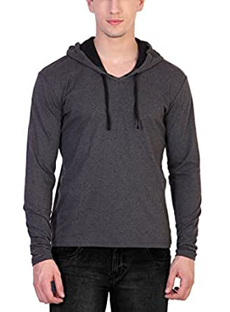Katso Men's Cotton Hooded T-Shirt (Dark Grey-Black, Small)
