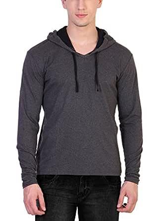 Katso Men's Cotton Hooded T-Shirt (Dark Grey-Black, Small)