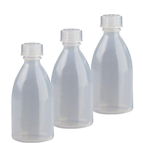 3x 100ml Enghals Laborflasche mit Schraubverschluss Laborqualität für Flüssigkeiten, Paste, Pulver, Granulat, 3× 100 ml