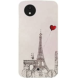 Casotec Paris Red Heart Design Hard Back Case Cover for Micromax Canvas A1