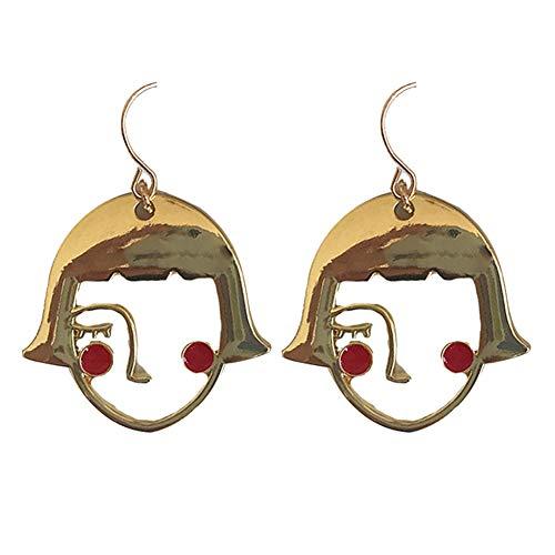 Homeofying Funny Shy Girl Holow Face Anhänger Legierung Haken Ohrringe Schmuck Geburtstag Geschenk für Frauen goldfarben