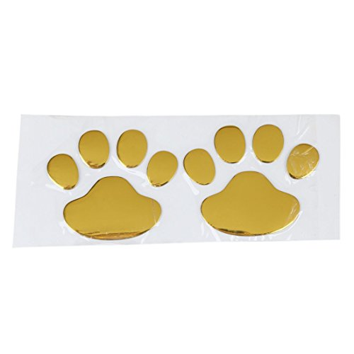 Auto-Aufkleber - SODIAL(R) 3D-Chrom Hundetatzen Abdruck Aufkleber Aufkleber Auto Wagen Emblem Aufkleber Dekoration Farbe Golden