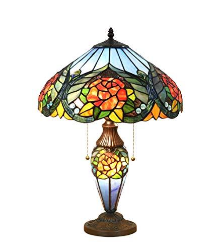 FBOSS Tiffany Stil Glas Handwerk Tischlampe 3 Steckdosen LED Nachtlicht 16