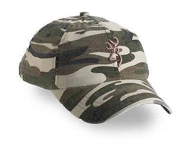Browning Woodland Camo Cap, Woodland camopink Buckmark, Adult Kap Adjustable Fit ()
