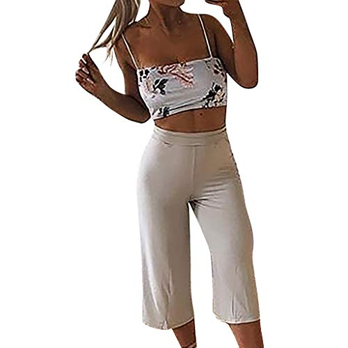 Hose mit weitem Bein Artistic9 Damen Wide Leg Capri Culottes Pants Solid Stretch Wide-Cut Pull-on Pant Elastic Waist Soft Breathable Casual Yoga Jogging Cropped Trousers (Dance Wide Pants Leg)