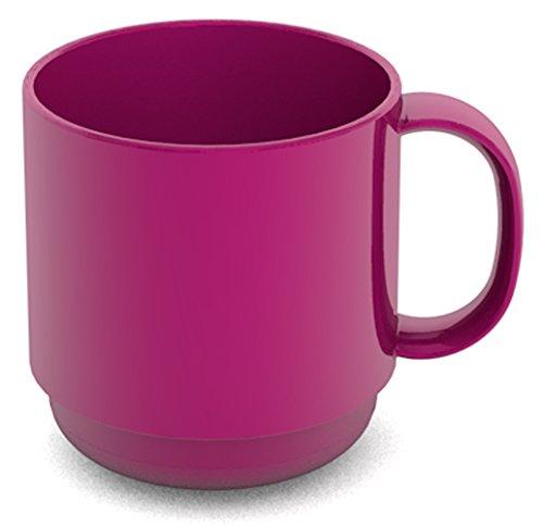 Ornamin Becher 220 ml brombeer | hochwertiger, stabiler Kaffeebecher aus Kunststoff mit Henkel | robustes Alltags-Geschirr für Kinder, Camping, Picknick, Gemeinschaftsverpflegung, Großküchen, Institutionen | Kaffeetasse, Mehrweg-Becher, Teetasse