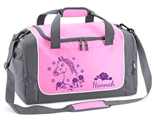 Mein Zwergenland Sporttasche in Rosa mit Namen, 38 L, Pferd in lila 21