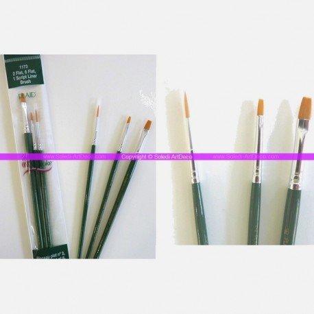 Set de 3 pinceaux : 2 Plats et 1 Script Liner en nylon or pour la technique One stroke de Donna Dewberry