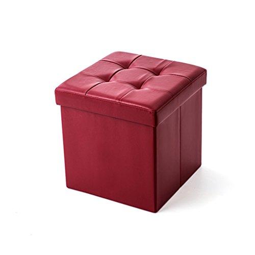 Tabouret de pied Pliable Pouf de rangement Boîte à chaussures Tabouret de maquillage Tapisserie de maquillage en rouge 150kg 38x38x38cm