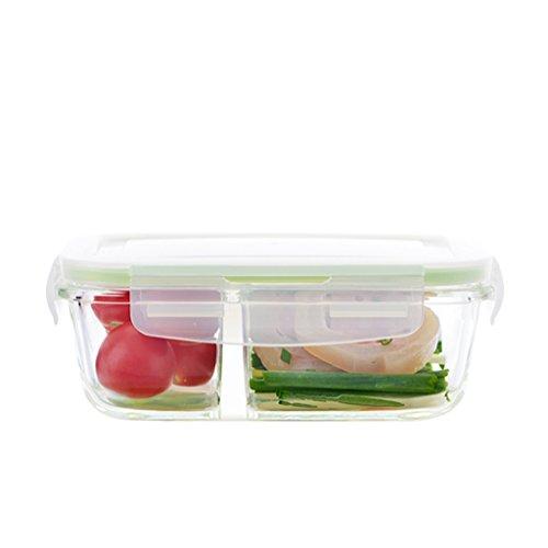 NNIU Format de boîte de rectangle Crisper, boîtes à lunch en verre résistantes à la chaleur de micro-onde, boîte de repas 500ml ( Couleur : Vert )