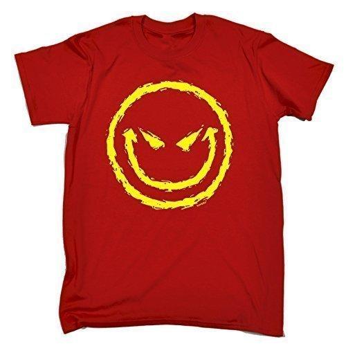 123T Kids - Kinder Premium T-Shirt Böses Smiley Gesicht Design - XL, Rot (T-shirt Das Böse Smiley-gesicht)