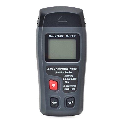 Ckeyin Humidimètre Bois Numérique Testeur d'Humidité Gamme de bois 0 à 99,9%, Précision ± 0,5%, Résolution 0,1% avec Grand Écran LCD pour Humidité du Bois