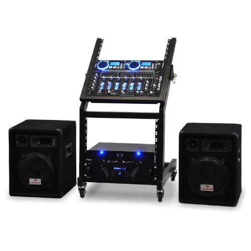 DJ -Set PA Komplettset Rack Star Uranus Blues Rackstand mit Party Lautsprecher Boxen, 2 x MP3-CD-Player, Verstärker und Mischpult für 250 Personen (4-Kanal-Mixer, USB-SD, 2x 300W RMS PA-Box) schwarz