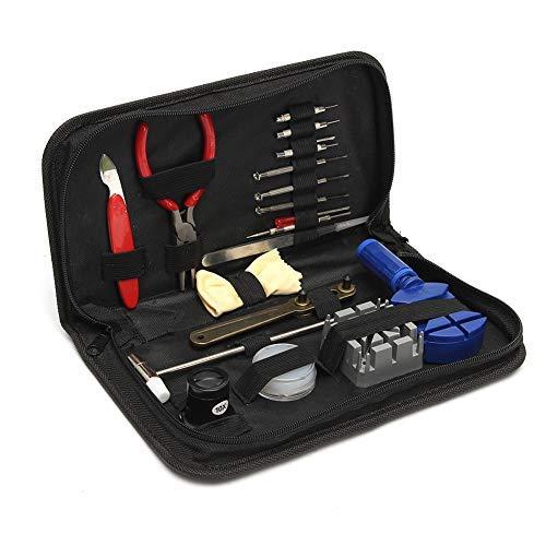 eug Set, Uhr Werkzeug Tasche Reparatur Set mit der Skalierten Frühlings Stab Stift Pinzette Schraubenzieher Kasten Band Halter für Uhrmacher oder Uhrenliebhaber ()