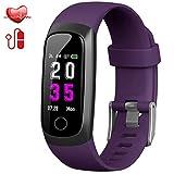 Hswt Traqueur de Fitness Bracelet Intelligent avec fréquence Cardiaque/tensiomètre/étanche IP67 / avec Moniteur de Sommeil/Enfant, Dame, Hommes Dispositif de pistage,Purple