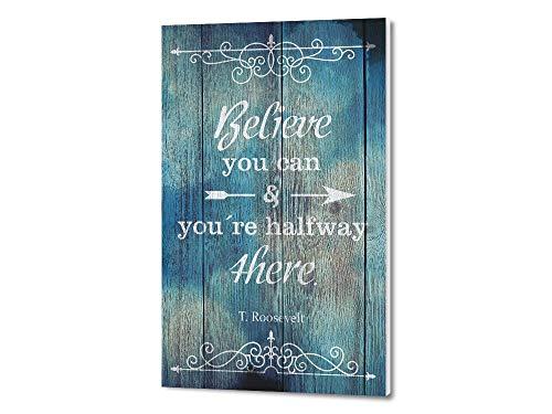 GRAZDesign Motivationsbilder Büro Holz Optik, Kunstdruck Fotodruck mit Sprüchen englisch, Wandbild blau Sprüche Vintage / 30x50cm