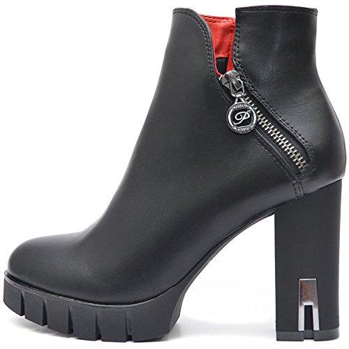 Plateau Damen Schuhe Schwarze Blockabsatz High Heels Ankle Boots Stiefeletten Kurz Stiefel mit Reißverschluss (38, Schwarz)