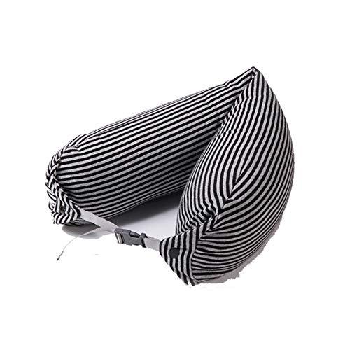 SonMo&Almohada en Forma de U,Almohada Cervical Masajeadora para El Cuello Almohada de Soporte Almohadas Estándar(Negro Gris)
