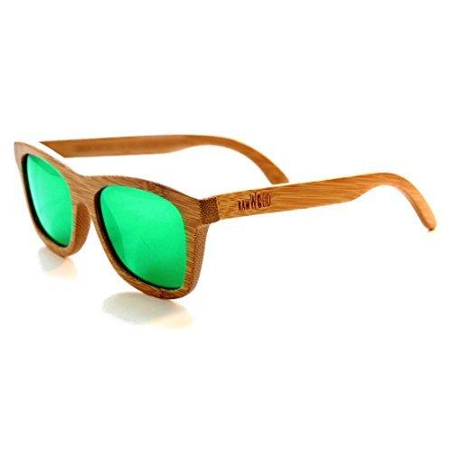 Rawwood occhiali da sole originali polarizzati di legno bambu natural/green