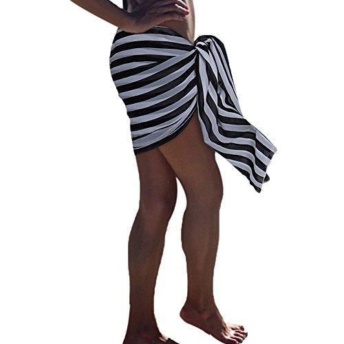 JMETRIC_Strandbluse Einheitsgröße Cover Up Blouse Multifunktionales Hängendes Kleid das Sonnenschutz-Strandbluse Druckt(Schwarz,Free Size)