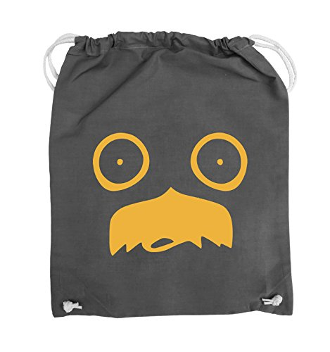 Comedy Bags - GESICHT SCHNURRBART - COMIC - Turnbeutel - 37x46cm - Farbe: Schwarz / Silber Dunkelgrau / Gelb