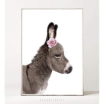 DIN A4 Kunstdruck Poster FLOWER DONKEY -ungerahmt- Esel, Bild, Kinderzimmer, Geschenk, Kind, Farm, Tier, Blume, Baby