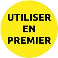 """AVERY - Rouleau de 300 Étiquettes Jaunes """"UTILISER EN PREMIER"""" pour Traçabilité Alimentaire, Adhésif Amovible, 40 mm"""