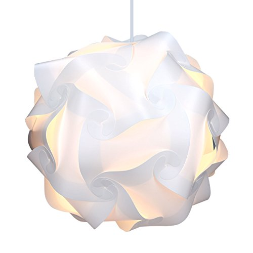 kwmobile Lámpara puzzle DIY 30 piezas - Lámpara de techo blanca con cable de 90CM y fijación E27 - Iluminación y decoración - Tamaño XL