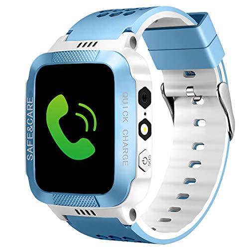 HUANSI Kinder Telefon Smartwatch Kamera Uhr Taschenlampe SOS wasserdichte Kinder Armbanduhr LBS Position Tracker Beste Kinder Geschenke (Power-base-quad)