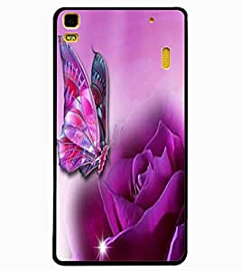 ColourCraft Rose and Butterfly Design Back Case Cover for LENOVO A7000 PLUS