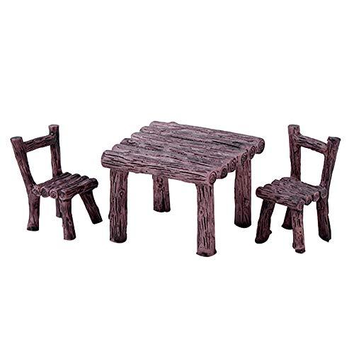 Bangle009 The Latest 3Pcs/Set Cute Table Chair Micro Landscape Ornament Fairy Garden Miniature Decor 2#